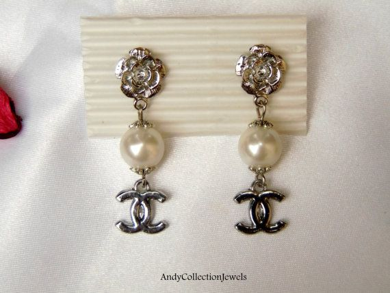 White pearls dangle earrings Designer by AndyCollectionJewels