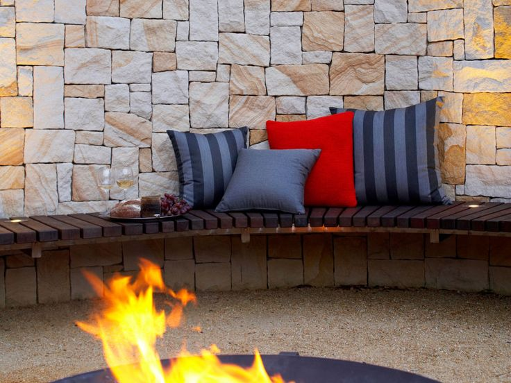 Eco Outdoor Killcare random ashlar sandstone curved walling and  fire pit, Space Landscape Designs.  Eco Outdoor | livelifeoutdoors | Outdoor design |Granite  flooring | Killcare random ashlar sandstone walling | Natural stone walling and flooring | Garden design | Outdoor paving | Outdoor design inspiration | Outdoor style | Outdoor ideas | Garden ideas | Luxury homes | Outdoor luxury | Retaining wall | Stone veneer | Stone walling | Stone cladding