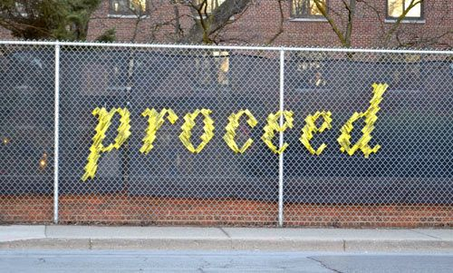 """Typography fence art.  What could I say on my patio's chain link fence - """"practice"""" to motivate all my piano students who enter through the patio for their lessons?? :)"""