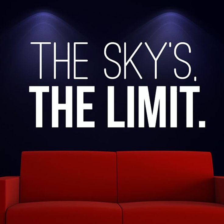 The Sky'S Предел Котировки Стикер Стены Белый Дизайн ПВХ Съемный Home Decor Для Гостиной