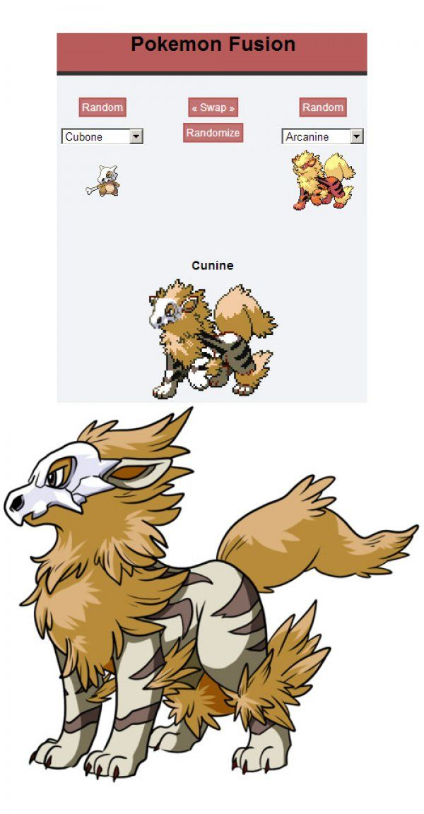 Incredible Pokemon Fusions -  a personal favourite. Cubone x Arcanine.