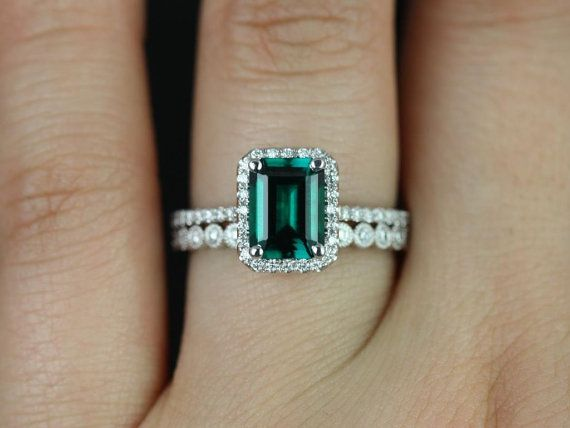 Esmeralda & Petite Bubbles WITH Milgrain 14kt White Gold Emerald and Diamonds Halo Wedding Set (Other Center Stone Available Upon Request)
