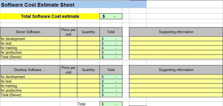 Free Cost Estimate Spreadsheet Template