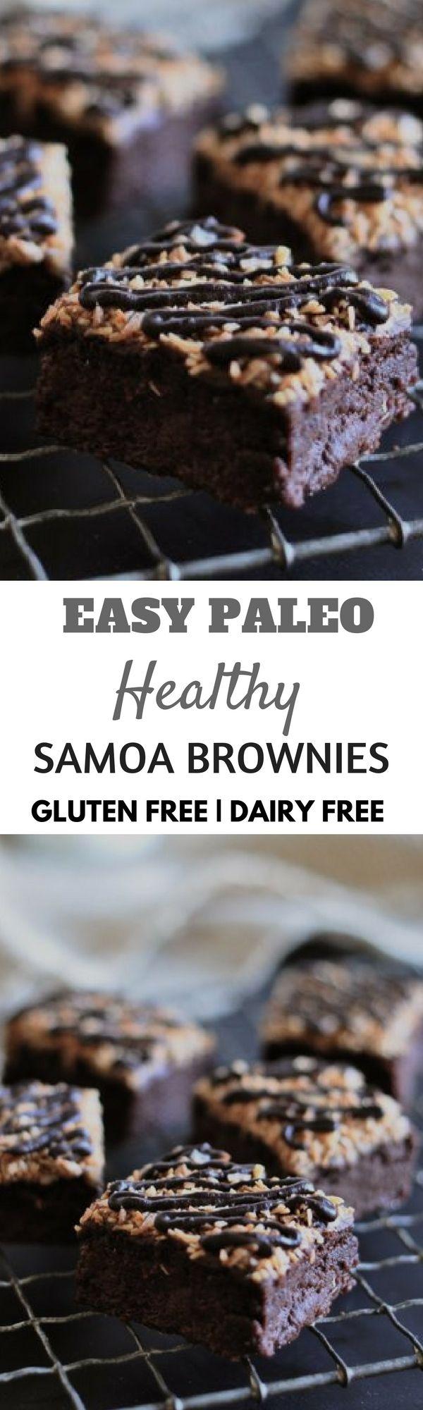 Healthy paleo samoa brownies. Best healthy paleo desserts for summer.