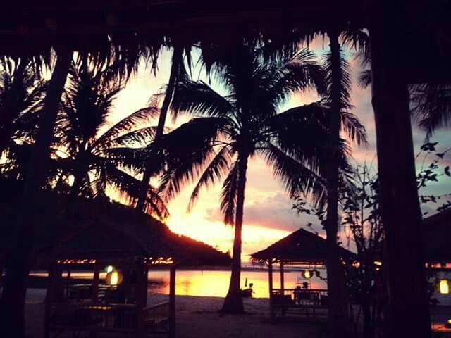 Sunset at bamboo beach bar. Koh samui