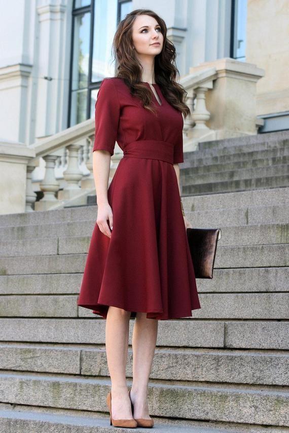 Plus Size Dress, Cocktail Dress, Womens Dress, Red Dress, Burgundy Dress, Rust, Women Dress, Knee, Short Sleeve Dress, 1950 es Dress