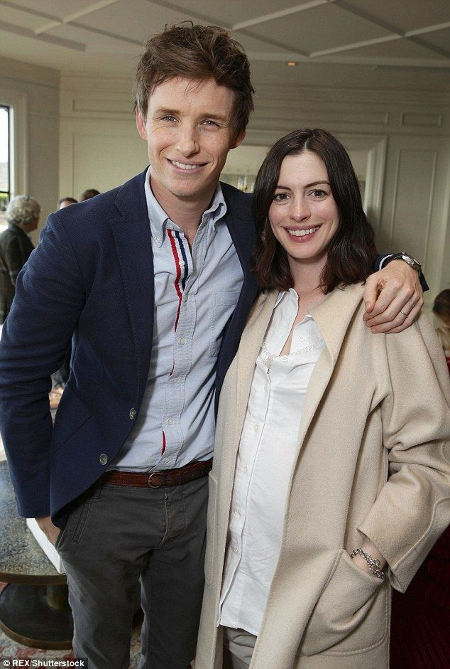 Old friends: Anne Hathaway joined Eddie Redmayne for a brunch by Focus Features to celebrate his role in The Danish Girl in Los Angeles on Monday