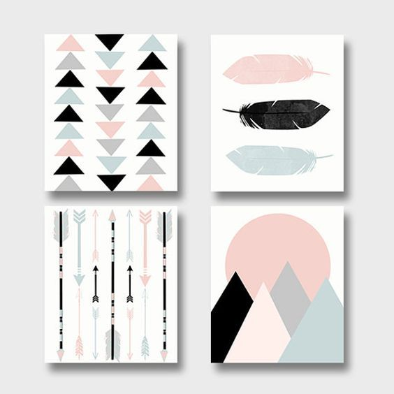 Modern art print set – printable art set of 4 prints – boho baby nursery art – feathers arrows mountains triangles – tribal wall art
