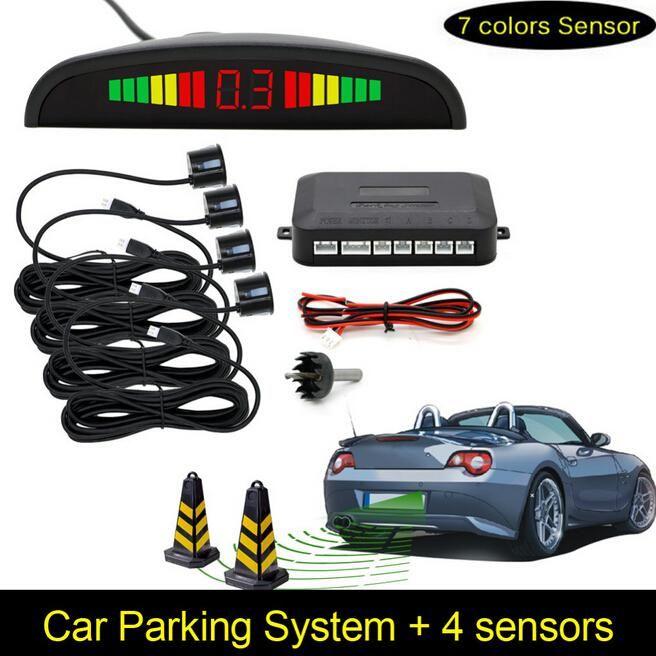 Car Parking Sensors Parktronics 4 Black Silver White 13mm Adjustable Flat Sensors Reverse Backup Radar Sound Buzzer Alarm 008 Car Parking Sensor Car Led