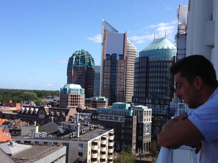 Vanaf de 9e etage van het stadhuis richting muzenstraat