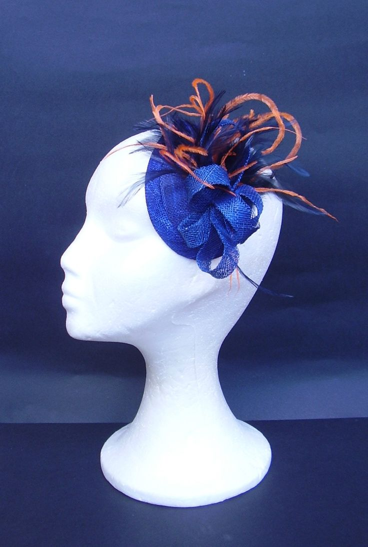 Orange and royal blue little fascinator www.tocamemika.etsy.com ... 22e3b5c790e