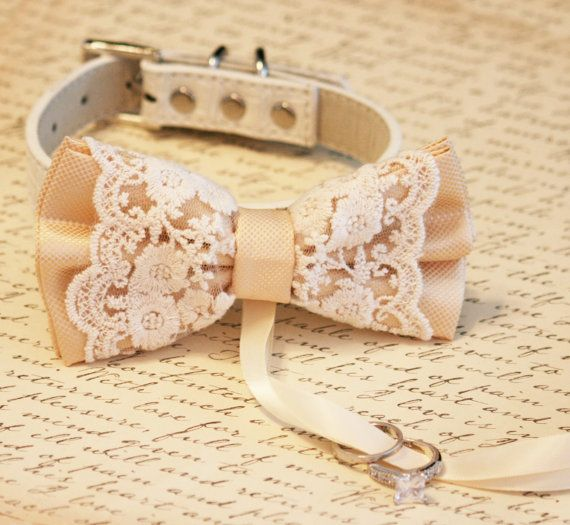 Ivory Dog Bow Tie Dog ring bearer Pet Wedding door LADogStore