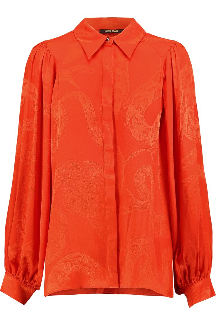 Shop on-sale Roberto Cavalli Silk-jacquard blouse. Browse other discount designer Tops & more on The Most Fashionable Fashion Outlet, THE OUTNET.COM