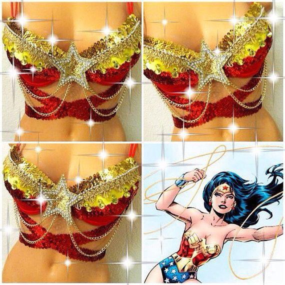 Reserved for Rachel: Wonder Woman Rave Bra by TheLoveShackk