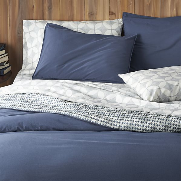 Tiago Stonewash Blue Duvet Covers and Pillow Shams    Crate and Barrel