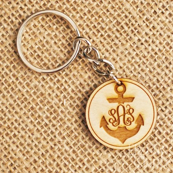 anchor monogram engraved wooden key chain