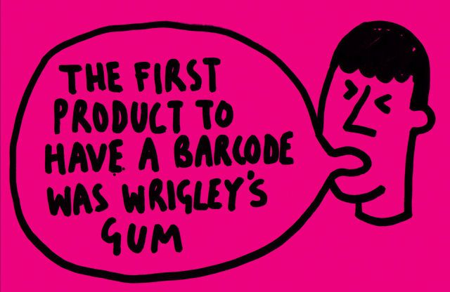 "Clip:  ""The very first scanning of the now ubiquitous Universal Product Code (UPC) barcode was on a pack of Wrigley Company chewing gum in June 1974.""  Read more here:  https://en.wikipedia.org/wiki/Barcode"