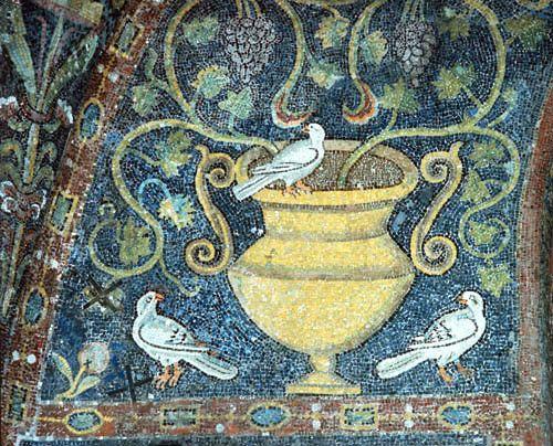 Italy, Ravenna the Vine and the Dove symbols of the resurrection, 6th century Byzantine mosaic in San Vitale