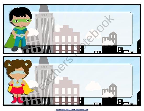 Student Name Plates: Super Hero Name Plates From KawaiiClassroom On