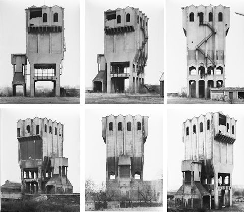 Bernd & Hilla Becher were a husband and wife team who travelled throughout the world creating taxonomies of different types of buildings such as these industrial warehouses.