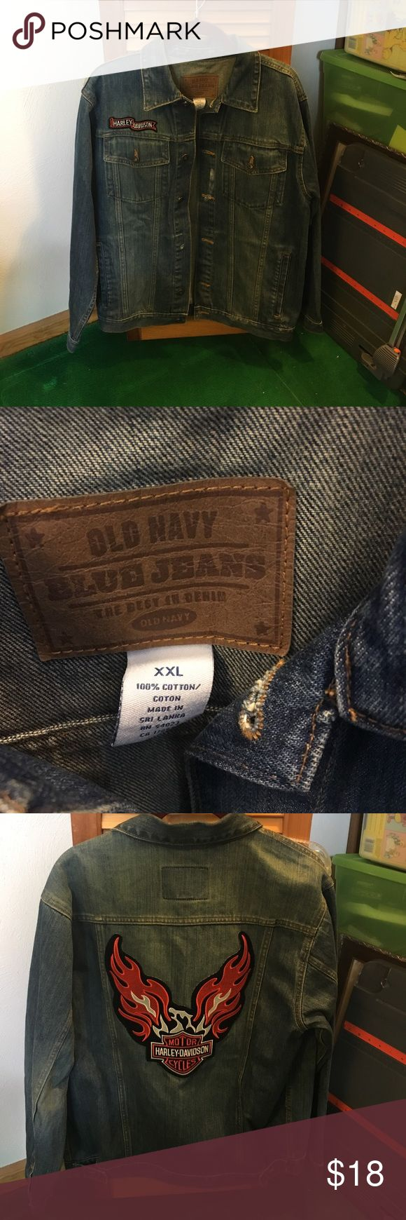 Old Navy Jean jacket XXL Harley-Davidson old navy jean jacket. Used, but still good condition. One button hole is a little worn (see pic). Old Navy Jackets & Coats Jean Jackets