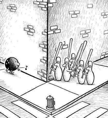 The bowling pins revenge! Lol!