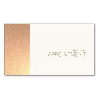 FAUX Rose Gold Foil Salon & Spa Appointment Card Double-Sided Standard Business Cards (Pack Of 100) - great fro hairdressers, cosmetologists, estheticians, nail salons, makeup artists and more.