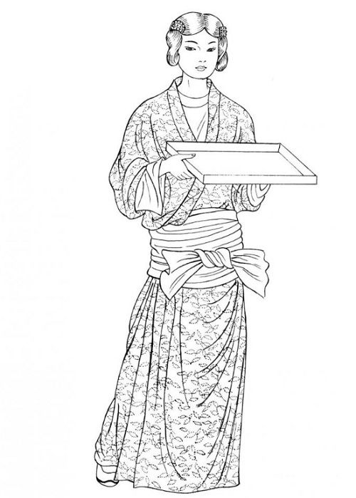 Tang Dynasty. This young woman`s long robe is held in place by a wide sash wrapped around her hips and securely knotted. Her hair has been divided into two sections, twisted, and fastened with barrettes.