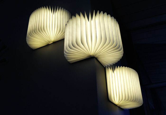 """""""Lumio"""" on Kickstarter: Unfolds from a book into a multi-purpose portable lamp. You can transform Lumio into multiple shapes for many different functions. Lumio is cordless and folds into a compact and lightweight book. Provides high output quality lighting equal to many large permanent light fixtures and lasts 8 hours on a full-charge. Super strong magnets are built into its cover making it easy to mount Lumio on metal surfaces."""