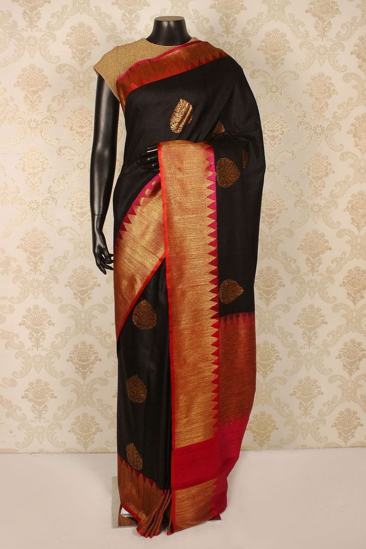 #Black pure #banarasi silk admirable #saree with antiqque #gold border -SR15402