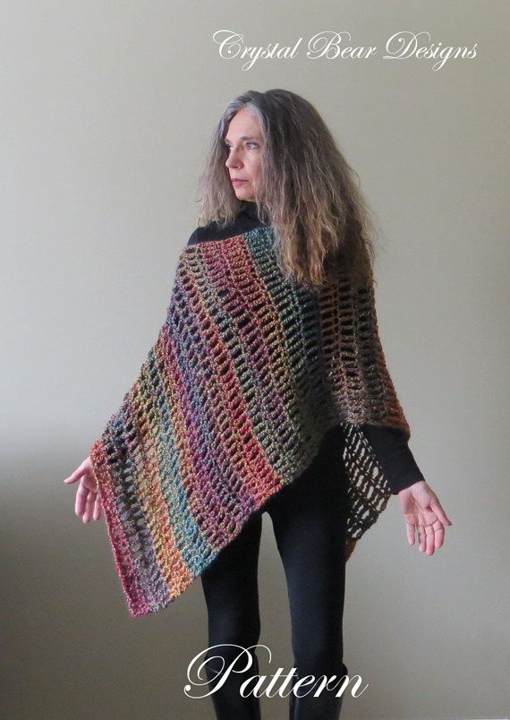 Easy Crochet Poncho PATTERN / Asymmetrical by CrystalBearDesigns