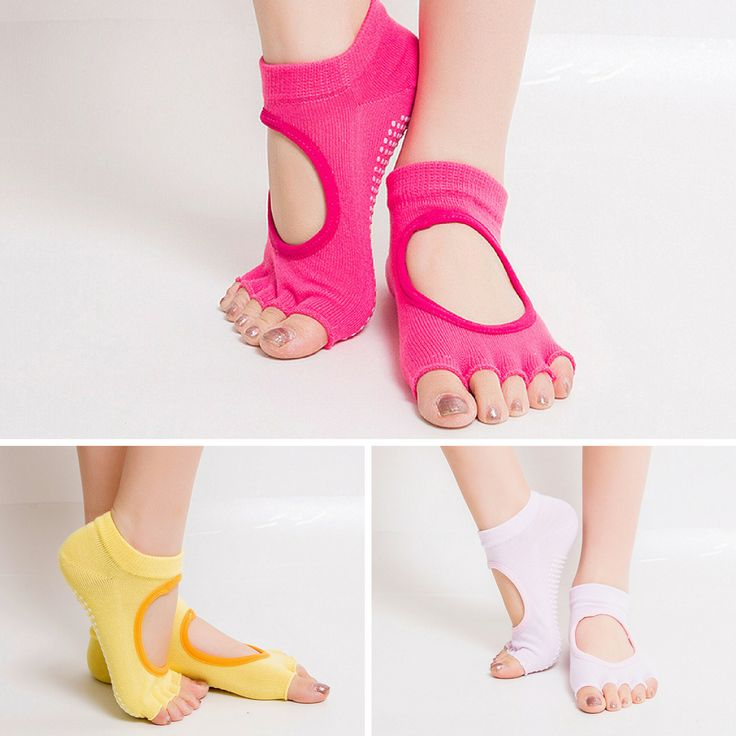 3 Pairs of Non Skid Yoga/Pilates/Aerobics/Barre Socks with Grips