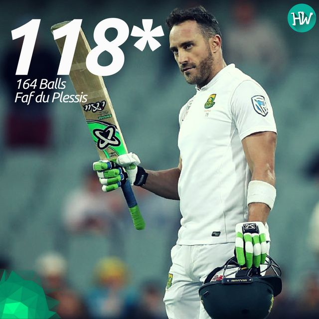 A gritty knock by captain Faf du Plessis kept South Africa afloat on the 1st day of the 3rd #AUSvSA Test. #faf #cricket