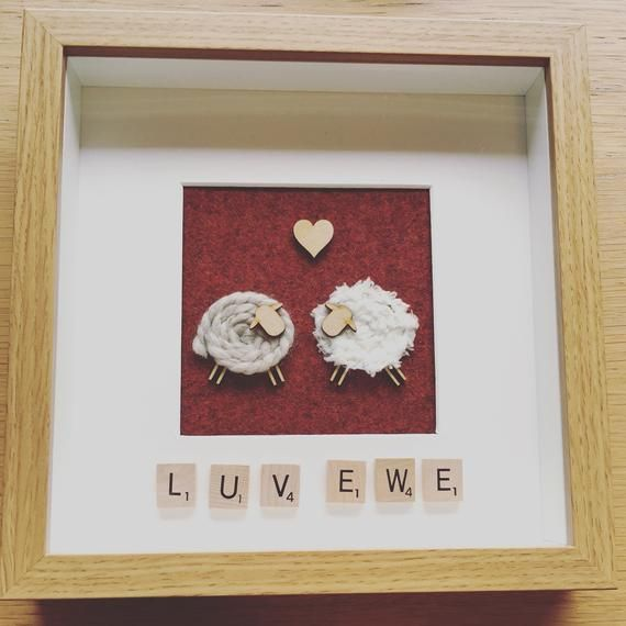 Luv Ewe, Love You, Sheep, Ewe, Picture Frame, Tweed, Picture
