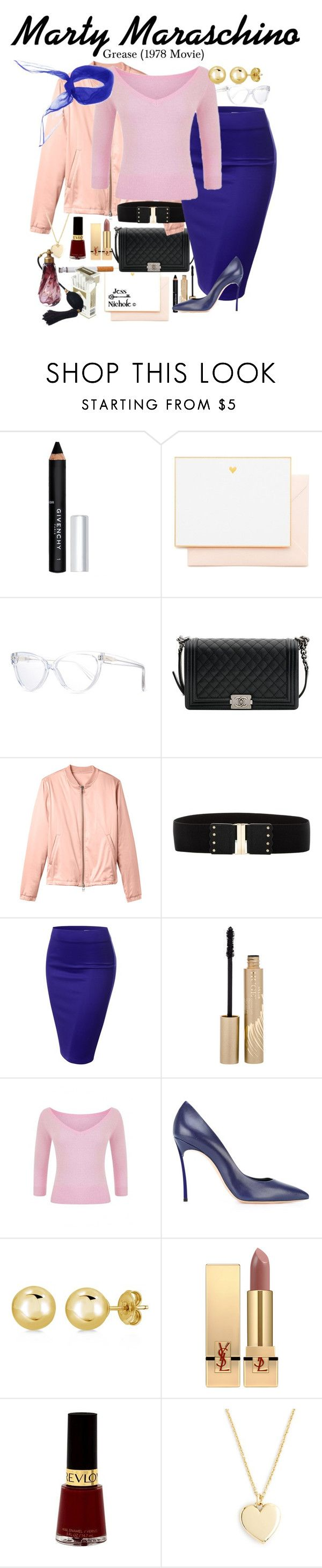 """Grease (1978 Movie): Marty Maraschino"" by jess-nichole ❤ liked on Polyvore featuring Givenchy, Joie, Prism, Chanel, 10 Crosby Derek Lam, Betsey Johnson, J.TOMSON, Stila, Collectif and Casadei"