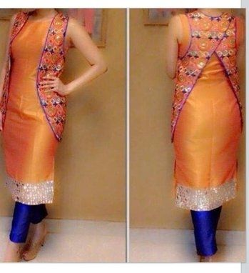 #Pretty n stylish yellow kurti with blue denim pants and mirror work traditional koti@