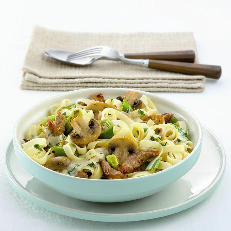 Pasta met filet en champignons