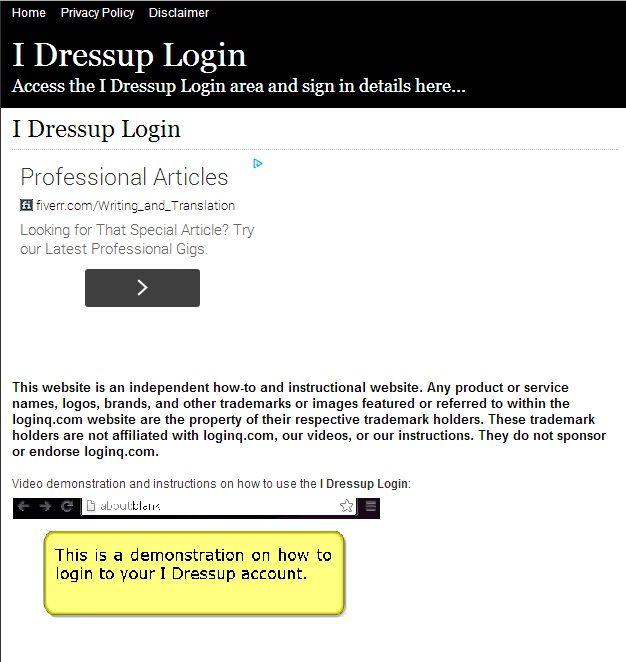 i dress up login