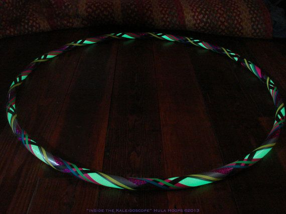 GLITTER & GLOW Hula Hoop - Glow in the dark tape sparkles during the day with an Iridescent sheen.