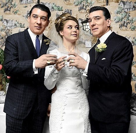 Reggie Kray with his bride, Frances Elsie Shea, pictued with his twin, Ronnie. - The Kray twins - infamous east end London gangsters