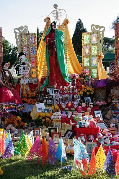 Hollywood Forever Cemetary, Dia de los Muertos Celebration.  Fabulous Santa Muerte.