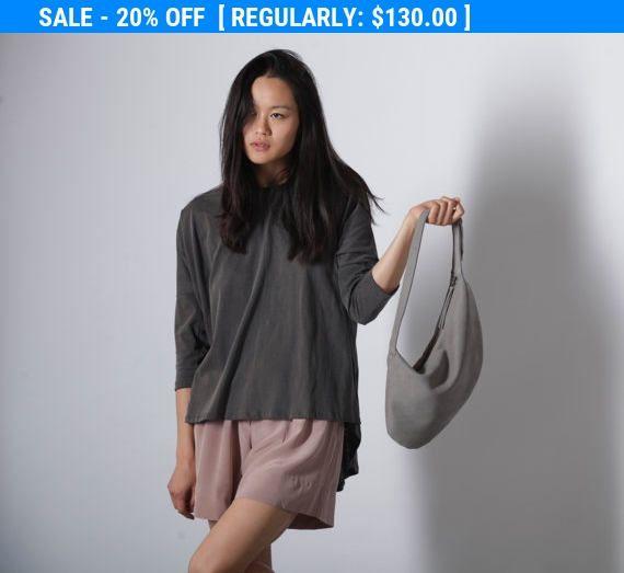 Grey Leather Pouch - Evening Bag - Leather Clutch - Shoulder Bag - Soft Leather Handbag - Sali bag