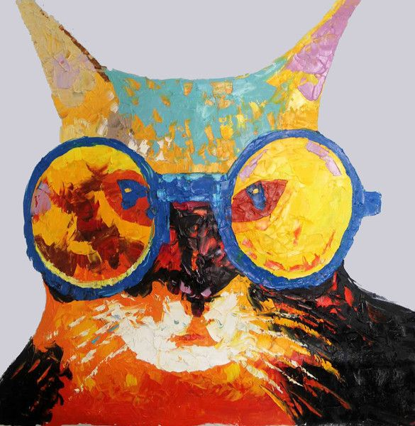 Sassy Cat with glasses - Available for sale at creativestrokes.com.au