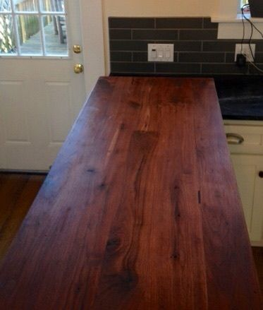 Walnut Counter Top with multiple coats of hand-rubbed, pure tung oil. The beauty of this combination increases with each additional tung oil application through time.  Available via ABMWOOD.COM