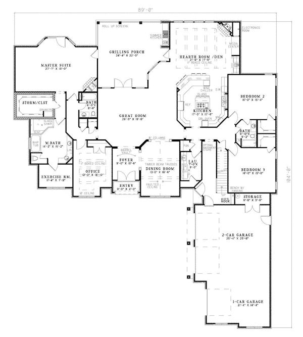 European southern traditional house plan 62132 for Traditional southern house plans