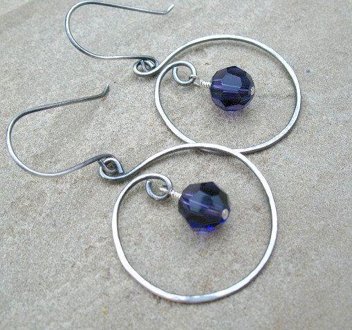 Purple Earrings, Sterling Silver Hoop Earrings