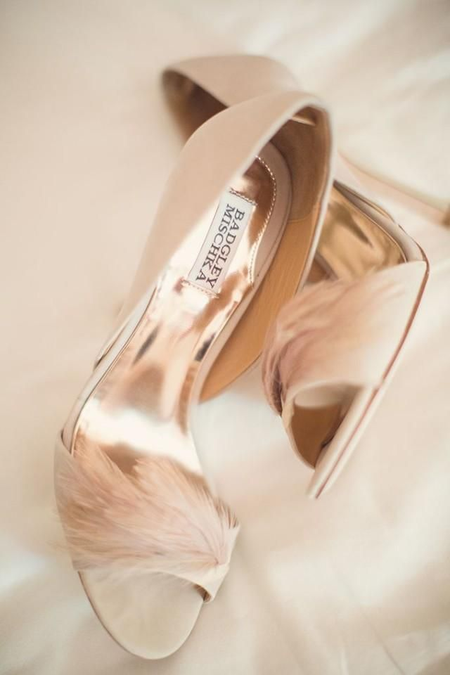 Badgley Mischka feather shoes