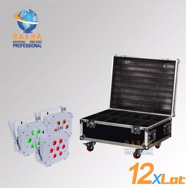 Rasha Quad 12x Lot 7 10w Rgba Rgbw Wireless Led Slim Par Profile Led Flat Par Can For Stage Event Party With 12in1 Flight Case Commercial Lighting Led Disco Club