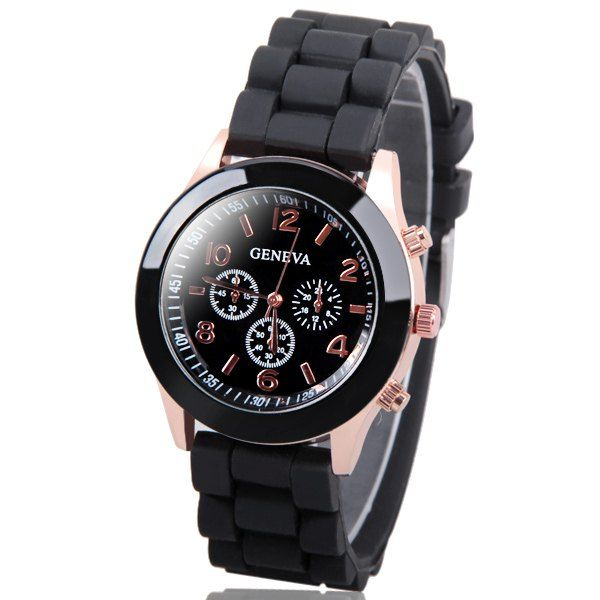 Geneva Candy Color Quartz Women Watch with Round Dial Analog Indicate and Rubber Watch Band, BLACK in Women's Watches | DressLily.com