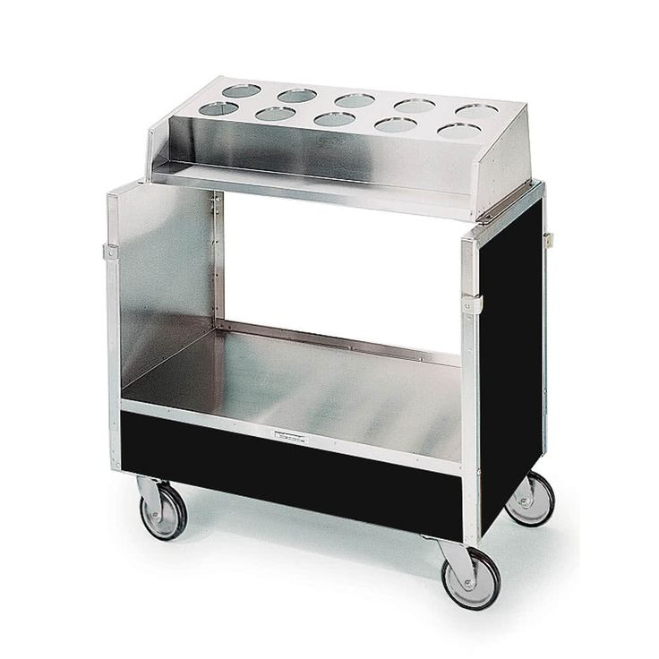 "Lakeside 603 Stainless Steel Silverware / Tray Cart with 10 Hole Flatware Bin and Black Vinyl Finish - 22 1/4"" x 36 1/4"" x 39 3/4"""